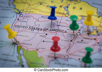 world map and flag focus on america