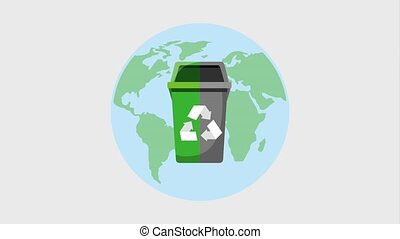 recycle ecology concept - world map and garbage bin recycle...