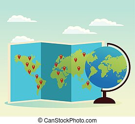 world map and globe icon, colorful design