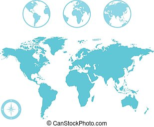 World Map and Globe Icons - Vector World Map and Globe with...