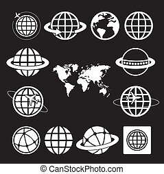 world map and globe  vector icons set