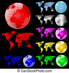 World Map and Globe Vector Set