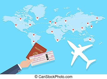 World map and hand with passport