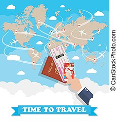 World map and hand with passport ticket card