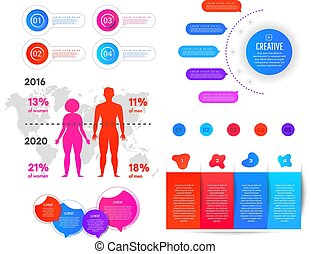 World map and information graphics. Infographics obesity and excess weight. Gradient flat infographic element of man and woman, world map and numbers