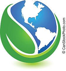 World map and leaf logo