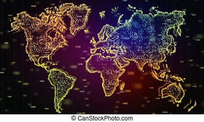 World Map. Animated random numbers World map with effects and glowing particles. Business background for presentation of project
