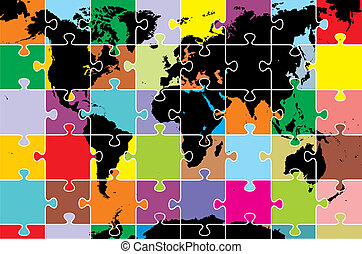 world map as puzzle