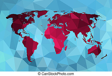 World map background in polygonal style - World map in...