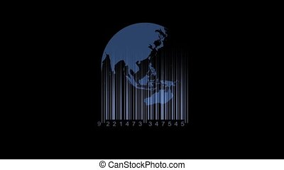 world map barcode. Save the earth, barcode concept