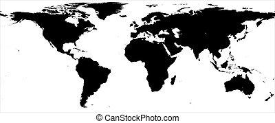 World map - black and white border