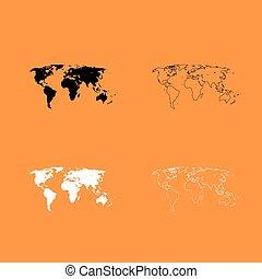 World map black and white set icon .
