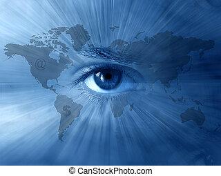 world-map, blauwe ogen