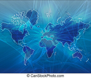 World map blue - Data transfer over a map of the world blue