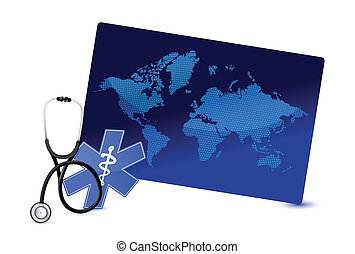 map board internet concept with a Stethoscope
