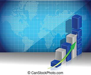 world map business graph profits concept
