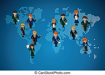 World map business work group people.
