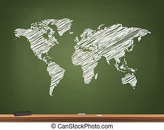 World Map Chalkboard Illustration