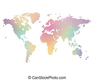World Map - Colorful world map consisting of triangles,...