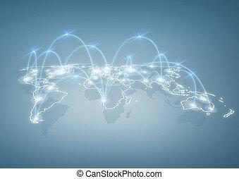 world map - international business, technology and social...