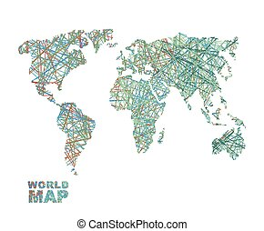 World map colored lines. Global Internet networkconnects  matter of planet Earth. Business concept global connectivity and communication. Geography data transfer