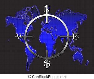World Map Compass