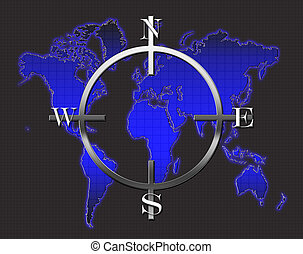 World Map Compass - An illustration of a world map featuring...