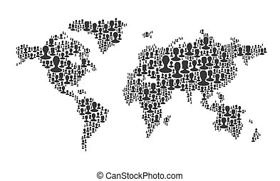 World map. Composed from many people silhouettes, vector