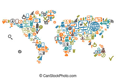 World map composed from social web icons and device
