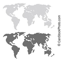 World map concept black color isolated on white background. Vector Illustration