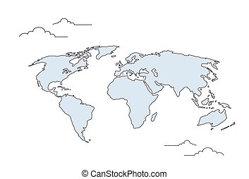 Simple black world map from thin line concept of vector world map concept doodle thin line gumiabroncs Images