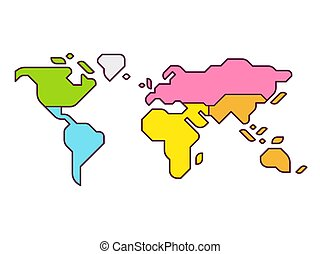 Simplified world map infographic with continents in different color. Modern flat vector style illustration.