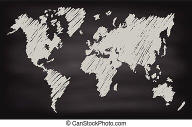 World Map Contour Vector Chalkboard Blackboard