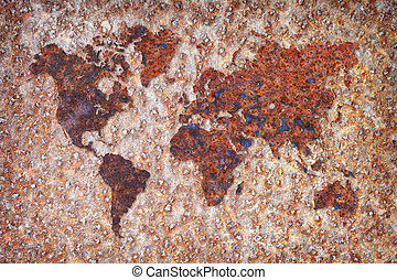 World map - corrosion stains on metal - The world map formed...