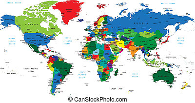 Detailed world map with countries, big cities and other labels.