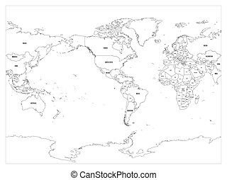 Vector political map of world black outline on white vectors world map country border outline on white background with country name labels america centered gumiabroncs Images