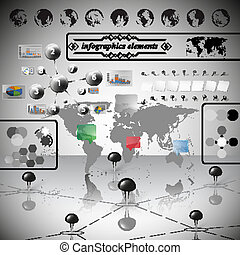World Map, differenticons and Information graphics, infographic vector illustration