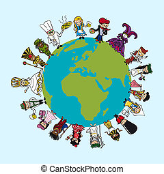 World map, diversity people cartoons with distinctive outfit concept illustration. Vector file layered for easy editing.