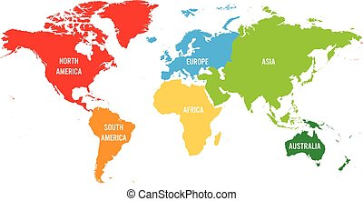 Simlified world map divided to six continents yellow lands and blue world map divided into six continents each continent in different color simple flat vector gumiabroncs Choice Image