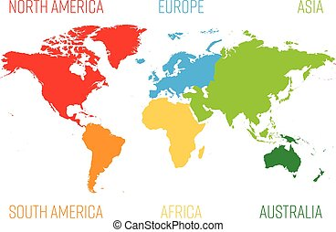 Simplified World Map Divided To Six Continents In Different Eps - Different continents of the world