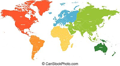 Simplified world map divided to six continents in different world map divided into six continents each continent in different color simple flat vector gumiabroncs Image collections