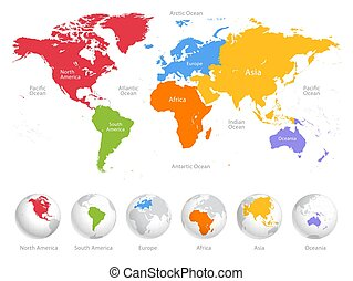World map divided into six continents.
