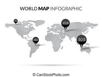 World Map Dot illustration infographics with points pins and percentage. Halftone Dotwork Vector illustration