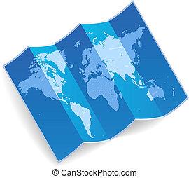 World map - Blue folded world map. Vector illustration.