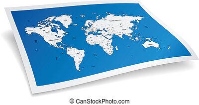 World map - Blue world map. Vector illustration.