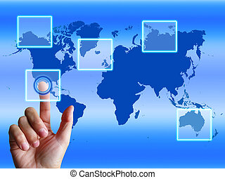 World Map Finger Showing Worldwide Communication And Global Cyberspace