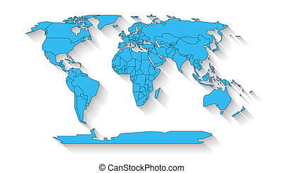 World map flat design - Blue colored continents with state...