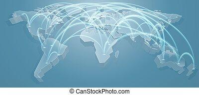 World Map Flight Path Background - A 3d blue world map...