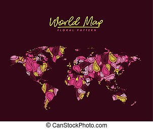 world map floral pattern arabesque on dark red background