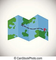 World map foldable navigation on white background icon